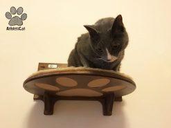 Mensola per gatti con incisione e tessuto