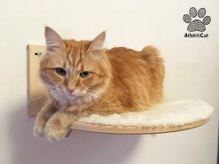 Mensola per gatti in legno artigianale con incisioni athleticat
