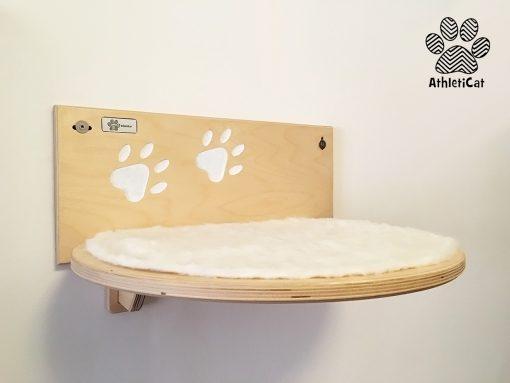 Mensola per gatti in legno con intagli artigianale