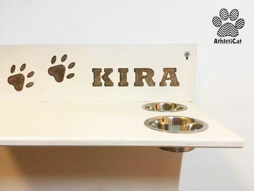 Mensola per gatti in legno artigianale con ciotole