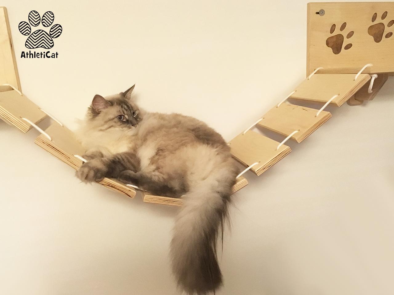 Ponte per gatti con intagli in legno athleticat