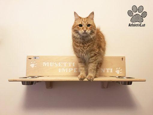 Mensola per gatti con ciotole scritta incisa